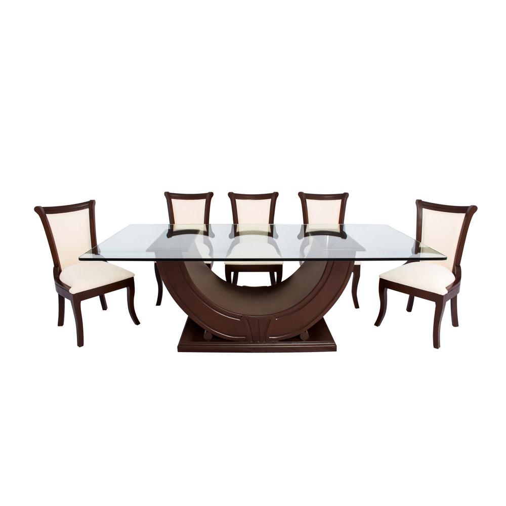 Elegante comedor Líbano en nogal para sentar cómodamente a ocho personas