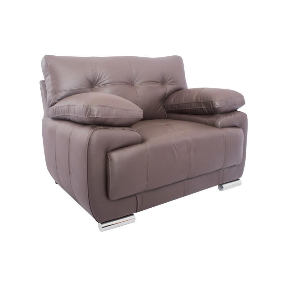 Vista lateral del sofá de la Sala Rigal 3-2-1 Nogal - Sofá