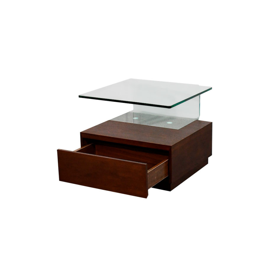 Vista de costado con cajón abierto de la mesa lateral Andy